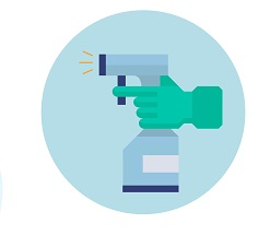 Infographic of hand holding spray bottle of disinfectant