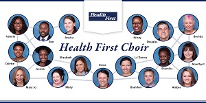 Headshot in a circle of each of the 17 members of the Health First Choir.