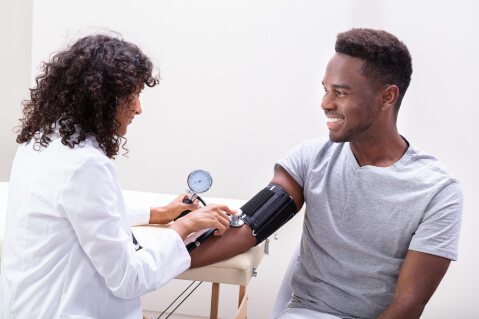 Man getting blood pressure measured